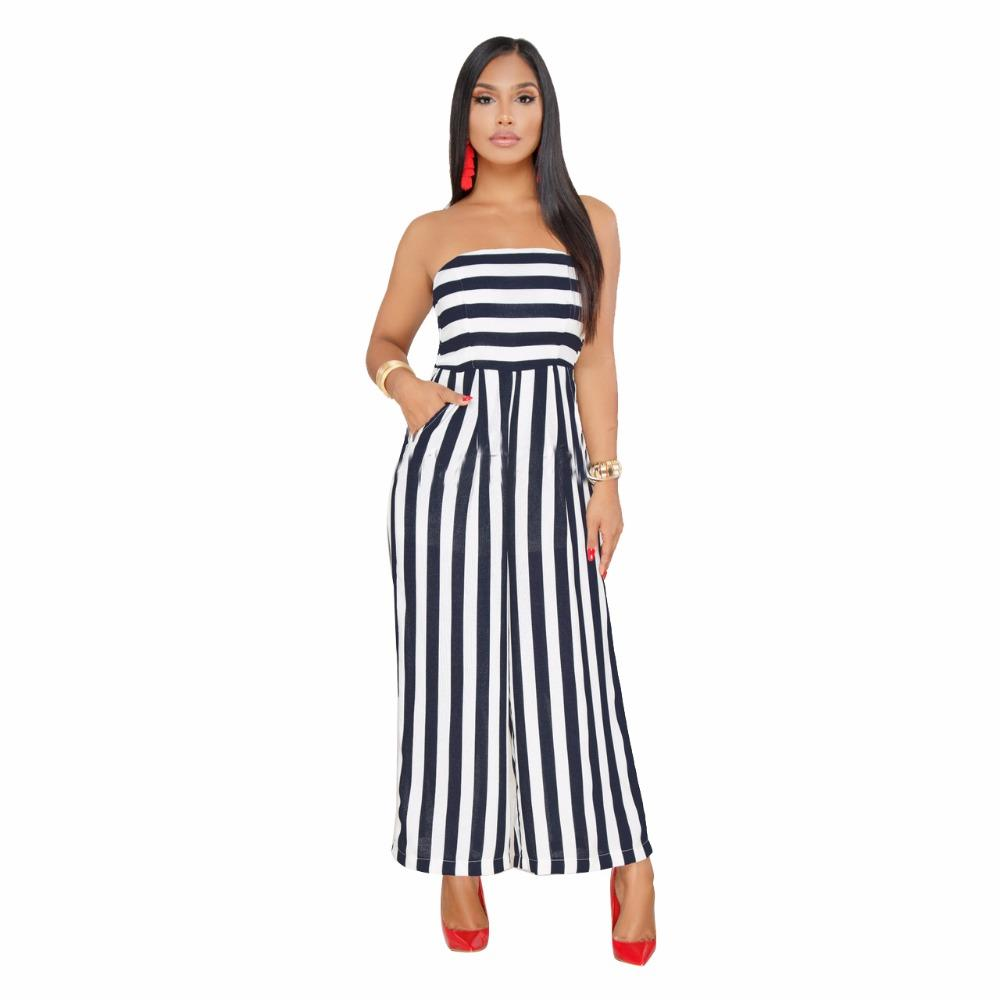 4a240afa79dc 2019 S 3XL Tracksuits Striped Print Overalls Jumpsuits Strapless Outfit Summer  Women Playsuits Casual Sexy Fashion Bandage Rompers From Ziron