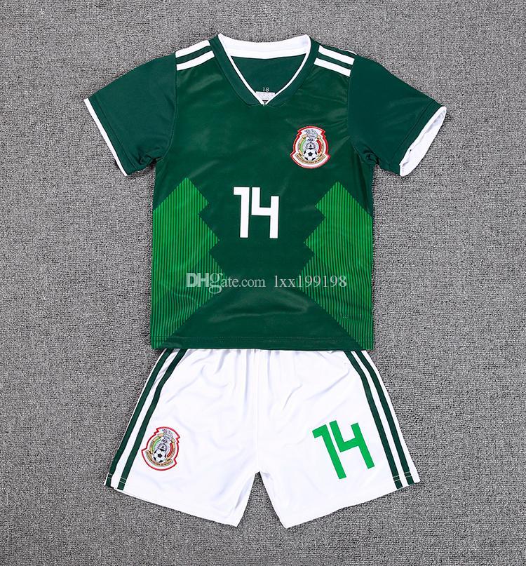 2018 New Sale World Cup 8 H.Lozano Kids Kit Mexico Soccer Jersey Home 10 G. Dossantos 14 Chicharito Shirt Children Custom Football Uniform UK 2019 From  ... 0cb756184