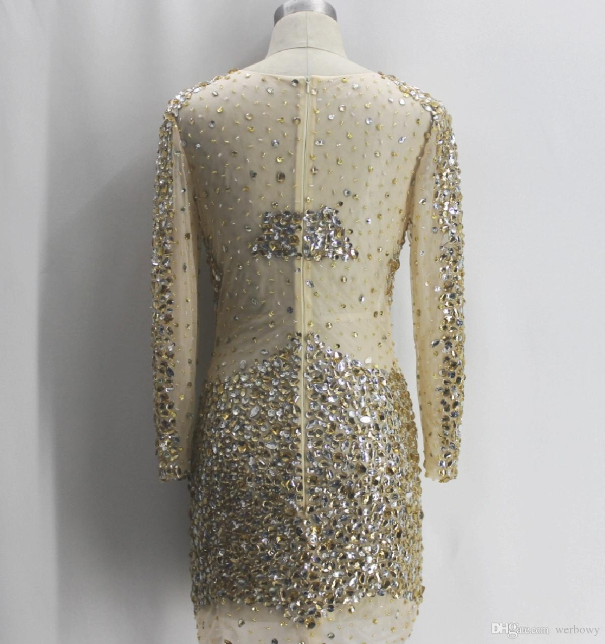 In-kind Shooting New Sexy Long-sleeved Crewneck Prom Dresses Big Handmade Beaded Slim Package Hip Short Party Dresses HY0707