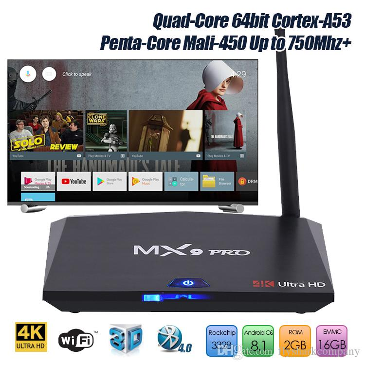 Latest TV BOX MX9 PRO Rockchip RK3328 Android 8.1 media player box 2GB 16GB Bluetooth extra Wi-Fi Antenna multimedia box for television