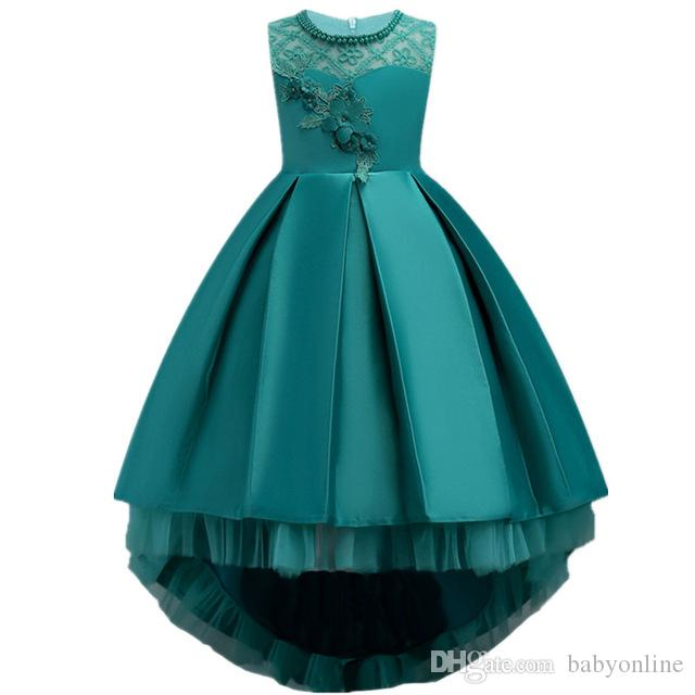0ea8b1f99092 Pretty High Low Satin Flower Girl Dresses 2018 Beaded Appliqued ...