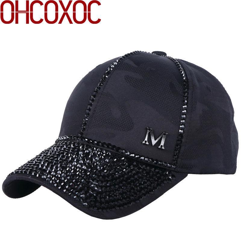 e3cb4952b72 New Women Luxury Baseball Cap Fashion Hats Bling Rhinestone Beads ...