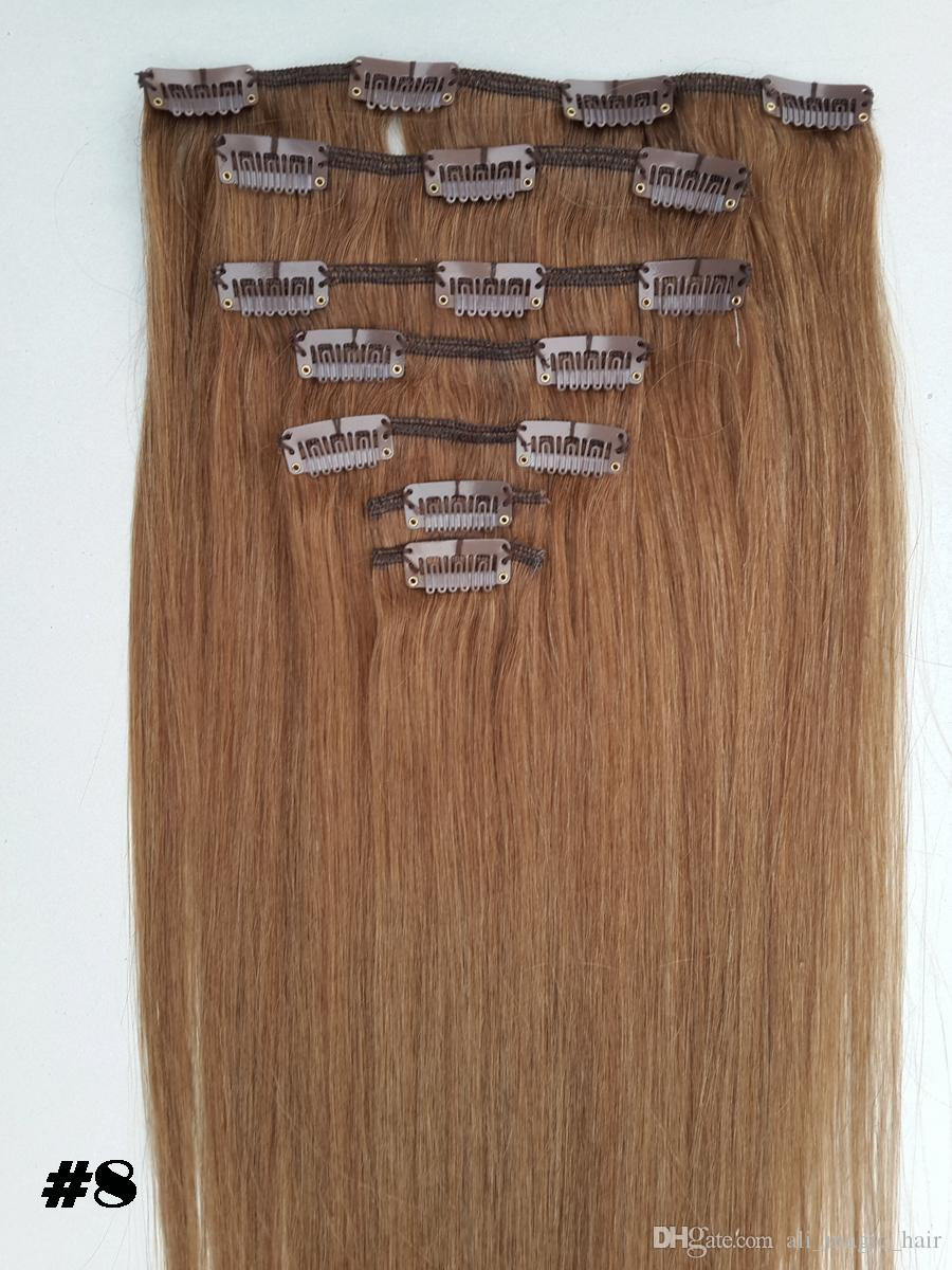 Clip Hair Pieces Double Drawn European Remy Human Hair Silky Straight Full Head Clip in Hair Extensions 12inch-26inch Natural Color