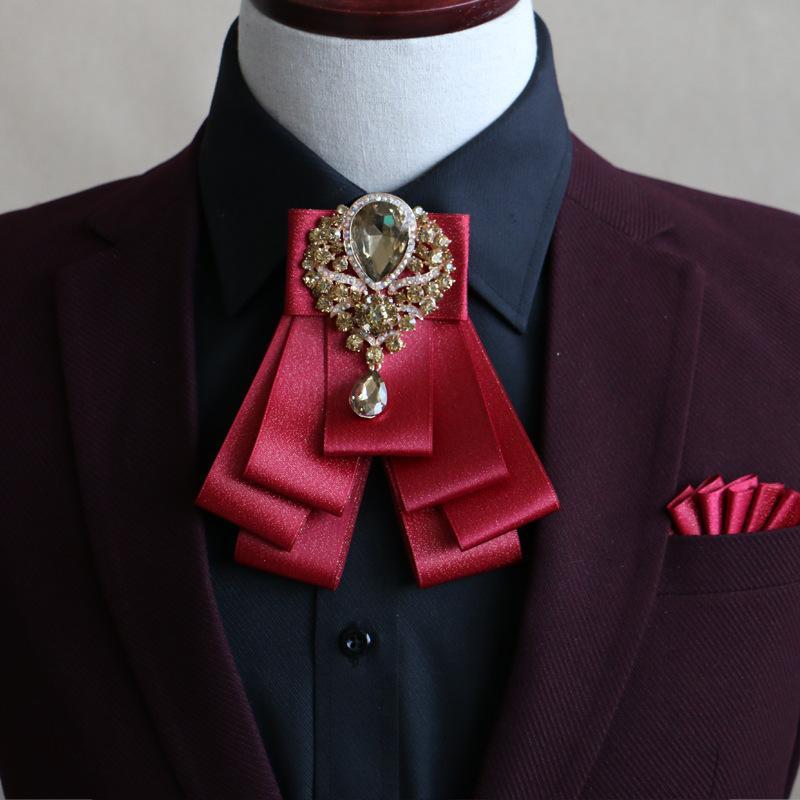 meilleur prix magasiner pour le meilleur beaucoup à la mode Mode sauvage décontractée New Style noeud papillon haut de gamme Casual  Wild Business Red Gold Diamant Groom Cravate britannique coréen