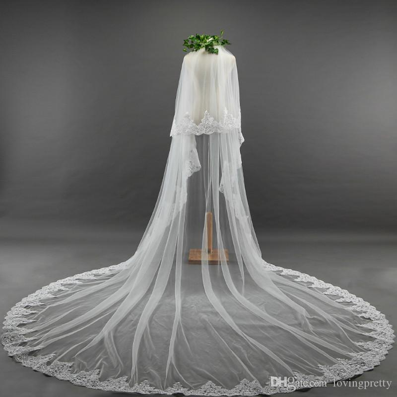 JaneVini 2018 Romantic Long Wedding Veils Lace Applique Edge Two Layers Cathedral Length Soft Tulle Bridal Veil with Comb Velo Novia 3metros