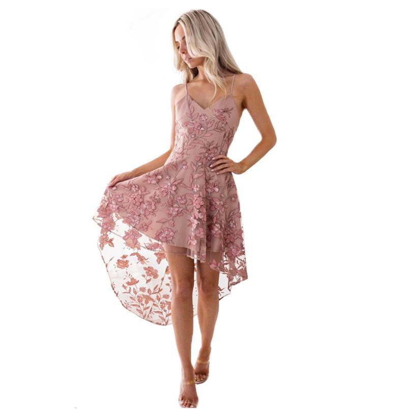 5d8aa2bcd715f Summer Women Flower Lace Party Dress Mid-Calf Sleeveless Spaghetti Strap  Elagent Dresses Female Bandage Dress Vestidos