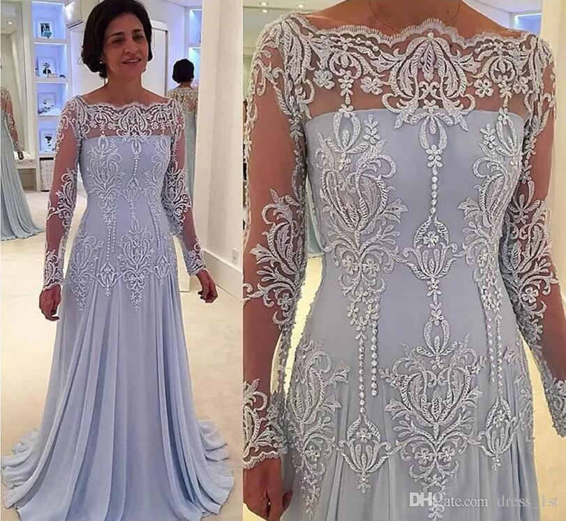 Exquisite 2017 Popular Lilac Chiffon Mother Of The Bride Dresses Elegant Illusion Long Sleeve Embroidery Beads Mother Formal Gown EN12275
