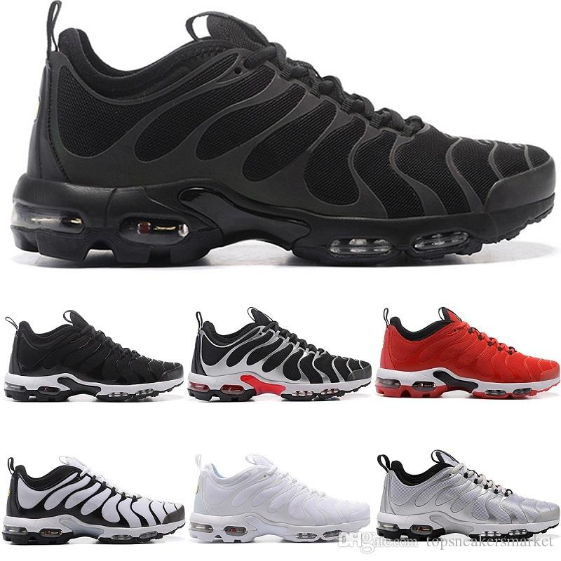 4a2de1c097aa Designer Mens 2018 TN Plus Ultra Running Shoes Core Silver Triple S Black  White University Red Blue Sport Sneakers Size 7 11 Free Shoes Discount  Running ...
