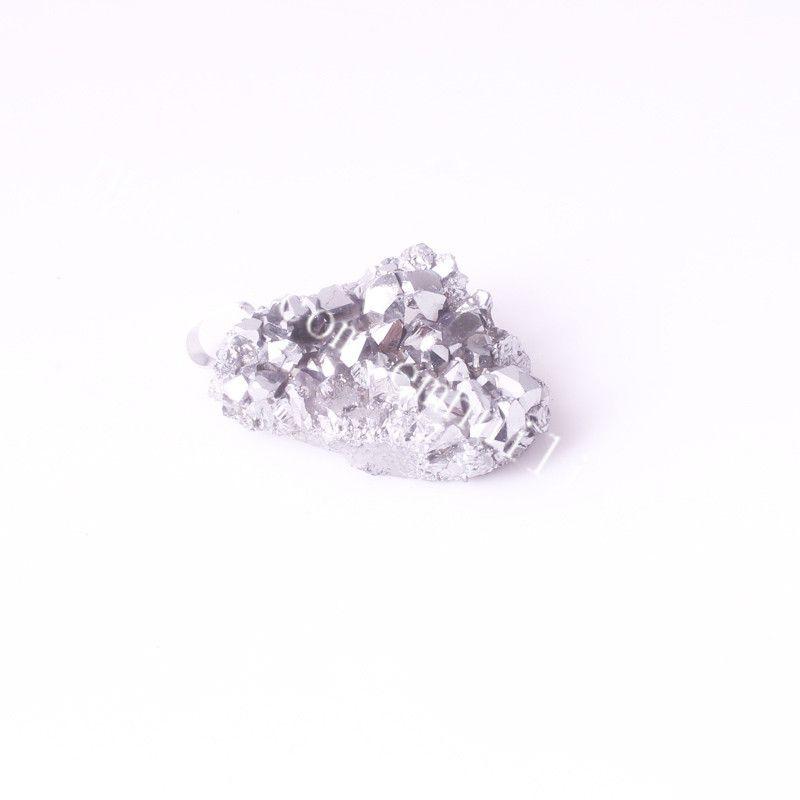 Mini Titanium Angel Aura Pendente al quarzo Drusy Point Druzy Geode Pendant Geometric Nature Bianco Drusy Titanium Crystal Cluster Pendant Pendant