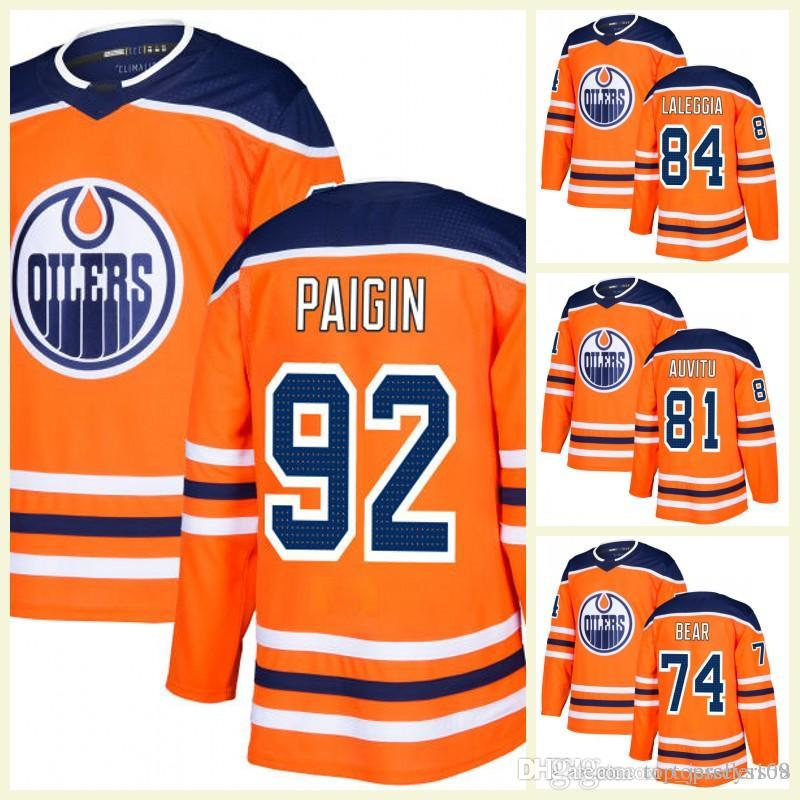 2a56c2493 2019 2018 2017 New Brand Edmonton Oilers Men 76 Ben Betker 56 Kailer  Yamamoto 81 Yohann Auvitu 74 Ethan Bear Orange White Custom Hockey Jersey  From ...