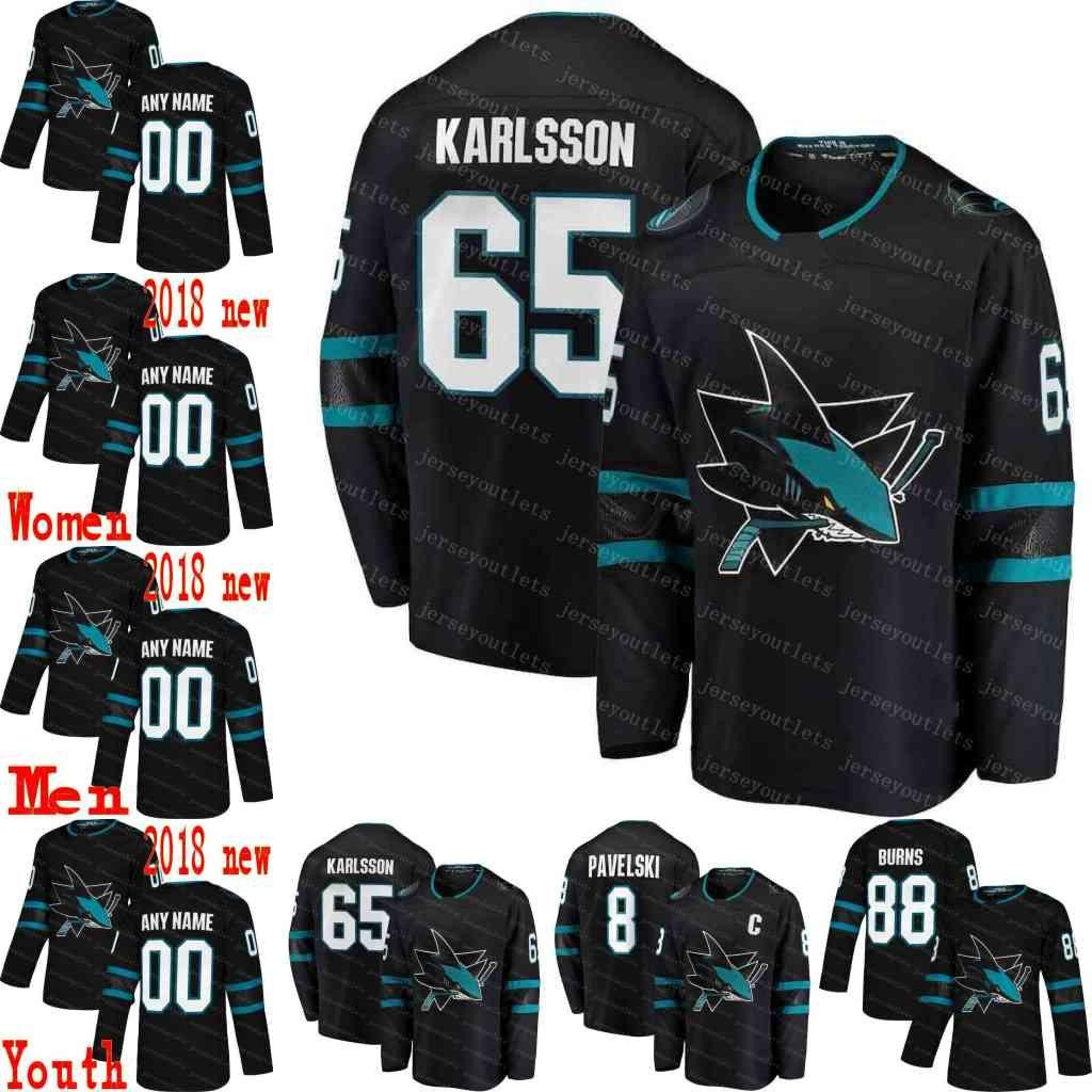 wholesale dealer 931d7 648cb 65 Erik Karlsson San Jose Sharks Hockey Jerseys Brent Burns 8 Joe Pavelski  Joe Thornton Joel Ward Hertl Evander Kane 2018 Black Alternate