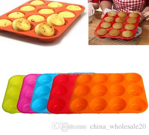 Free Shipping Silicone Nonstick 12 Cups Muffin Pan Cupcake Tray Cake Baking Mold