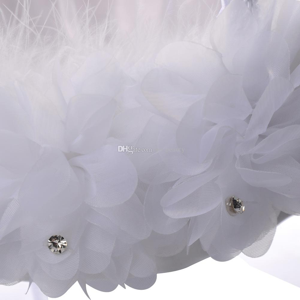 Cesto di fiori di piume di struzzo bianco Cesto di fiori di seta rotondo elegante Bomboniere Accessori di nozze Nuovo