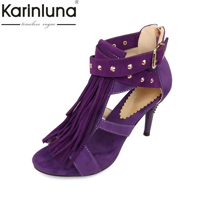 e19ff9e82aa3 KARINLUNA Black Red Sexy Women Tassel Sandals Blue Purple Ladies High HeelS  Rivets Shoes Woman Plus Big Size 32 43 Gold Shoes Flat Shoes From Beasy111