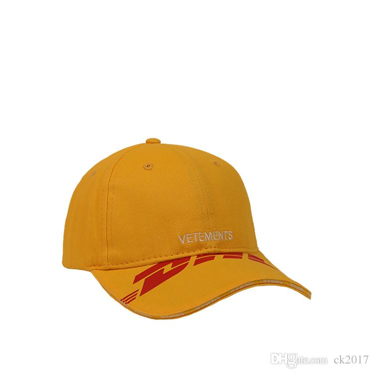 61bf2c1789cd6 2019 18ss VETEMENTS DHL Men S And Women S Outdoor Sports Yellow Baseball  Cap Cap High Quality New Sun Hat From Ck2017