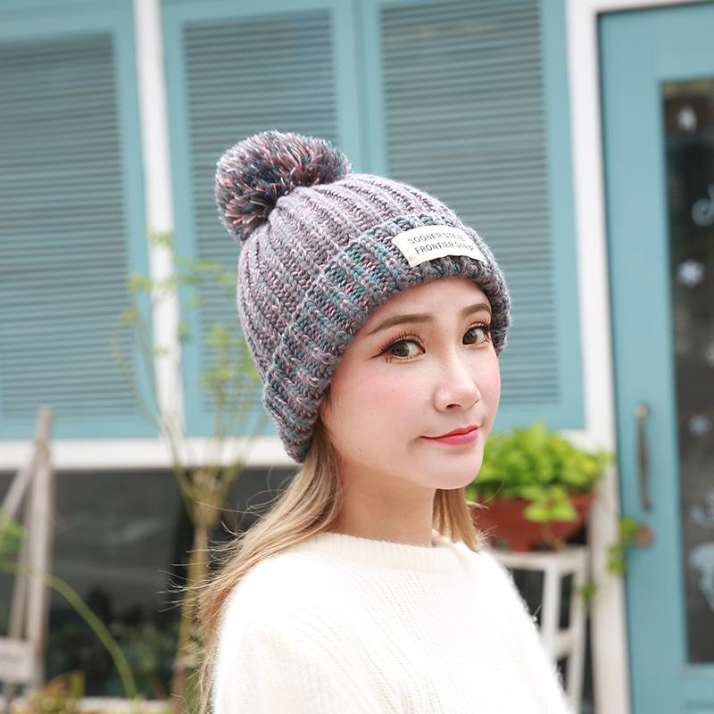 95754dc9a18917 Girls Warm Knitted Hat High Quality Letter B Cotton Beanies Hat Add Woolen  Yarn Lining Ball Cap Pompom Winter For Women Knitted Hats Knit Cap From  Fabuline, ...