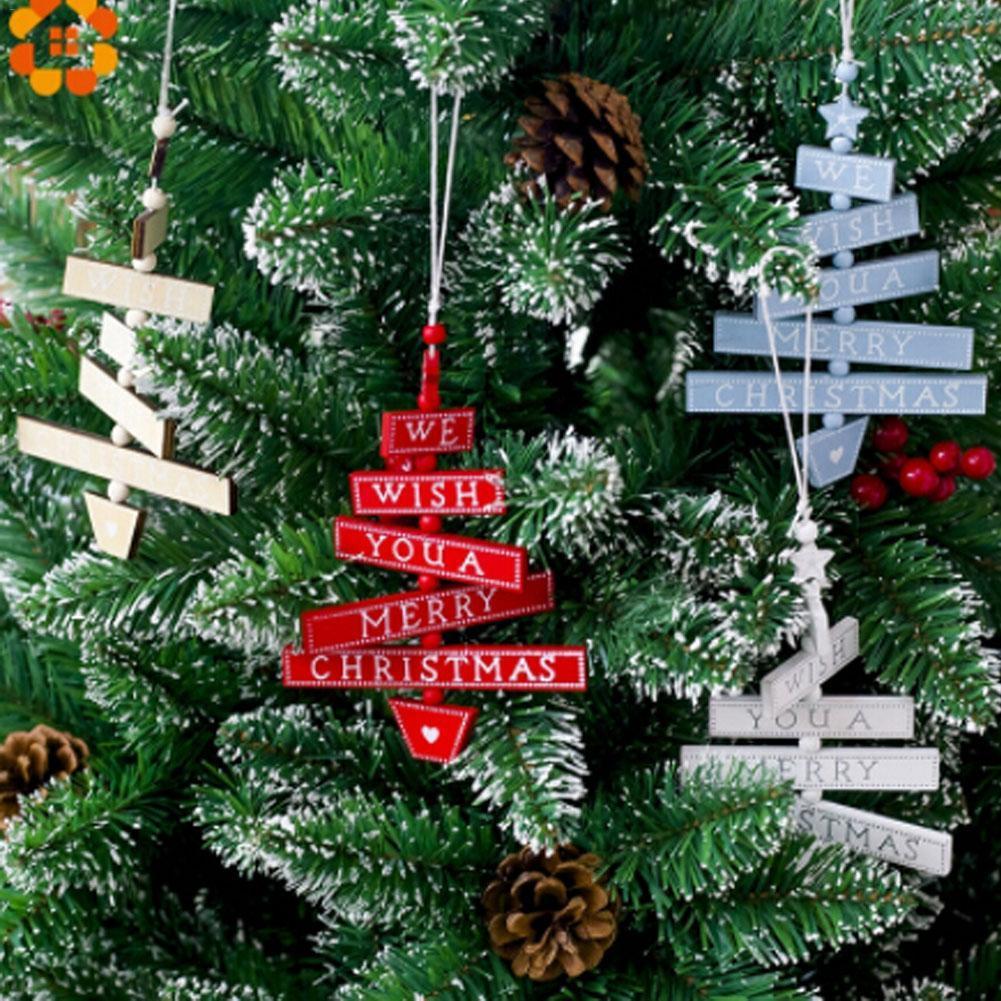 fe2e986aa3e Compre 1 Unids Árbol De Navidad Adornos Colgantes Árbol De Navidad Fiesta  En Casa Decoración Con Cuentas De Madera Pintada Etiqueta Colgante  Decoración De ...