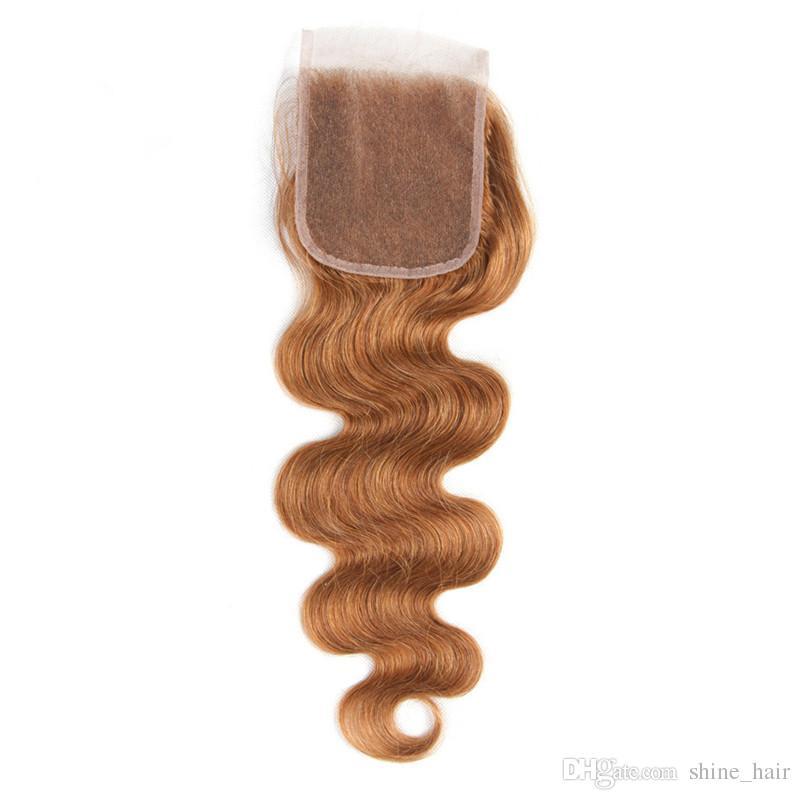 Vierge brésilienne moyenne Auburn Tissage de Cheveux Humains avec Fermeture Vague de Corps # 30 Fermeture de Lacet Brun Clair 4x4 avec 3 Bundles Deals