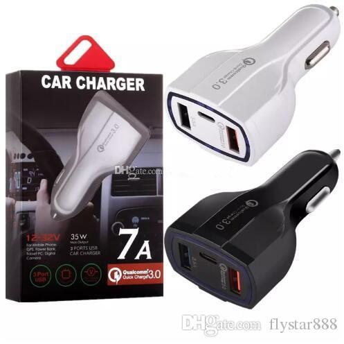 c7539ea15ae Cargador Portatil Movil 35W 7A 3 Puertos Tipo De Cargador De Automóvil C Y Cargador  USB QC 3.0 Con Tecnología Qualcomm Quick Charge 3.0 Para Teléfono Móvil ...