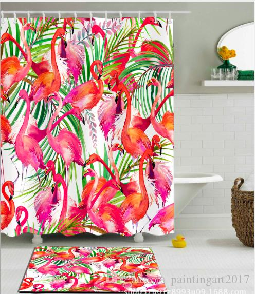 2019 Hand Painted Tropical Rain Shower Curtain Flamingo Background Cloth Curtains With 12hooks Multifunctional Bathroom Sets Door From
