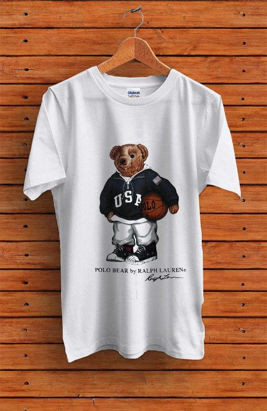 aab94abc05260c Vintage T-Shirt 90's POLO Bear Basketball Sport Reprint 2018 New Short  Sleeve Men T Shirt 100% Cotton Family Top Tee