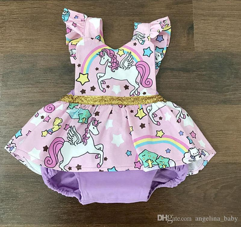 3ed32935d692 2019 Baby Girls Unicorn Rainbow Rompers 2018 Kids Summer Romper ...