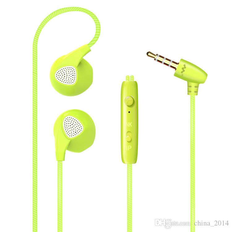 Hot sale headphone Sports belt wheat mobile phone universal color smart 3.5mm in-ear earphone with mic wire control
