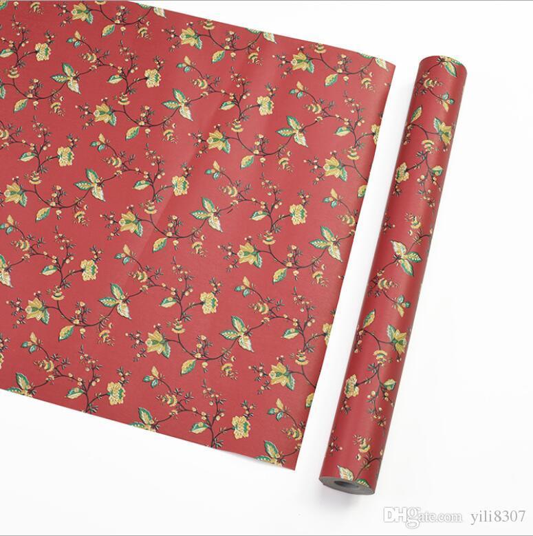 Wholesale 45cm*10m PVC Red Flower Vine Wallpaper Self Adhesive Fridge Stickers Waterproof Vinyl Furniture Stickers Nursery Room Wardrobe DIY