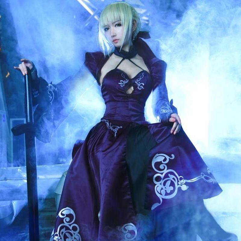 Compre Alter Negro Saber Cosplay Fate Stay Night Traje Saber Fate Zero  Sword Vestido De Cosplay Artoria Pendragon Halloween Falda Lolita A  43.86  Del ... 4fe8e1f86d4f