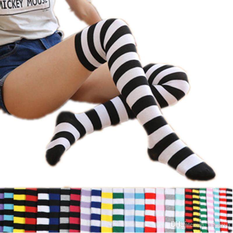 5c6bd587acf 2018 Colorful Sexy Striped Boots Compression Stockings Ladies Over Knee  Socks Long Women s Sock Body Thigh High Tube Socks Women