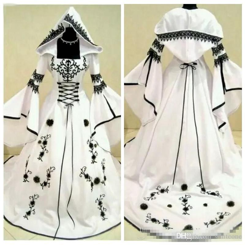 Discount Vintage Black Gothic Wedding Dresses A Line: Discount 2018 Custom A Line Black Lace Embroidery White