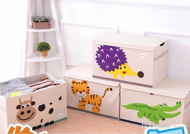 Hotsales 3D Embroidery Cartoon Animal Folding Storage Box X-Large Laundry Basket Sundries Children Clothes Toys Washable Storage organizer