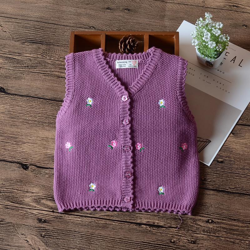 ad94cfebf Purple Baby Girls Sweater Cardigan Single Breasted Waistcoat Girls ...