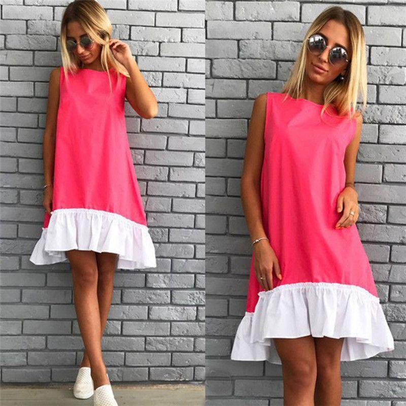 Yaz Kolsuz Rahat Elbiseler 2018 Kadınlar Gevşek Patchwork Kolsuz Ruffles O-Boyun Mini Plaj Elbise Artı Boyutu