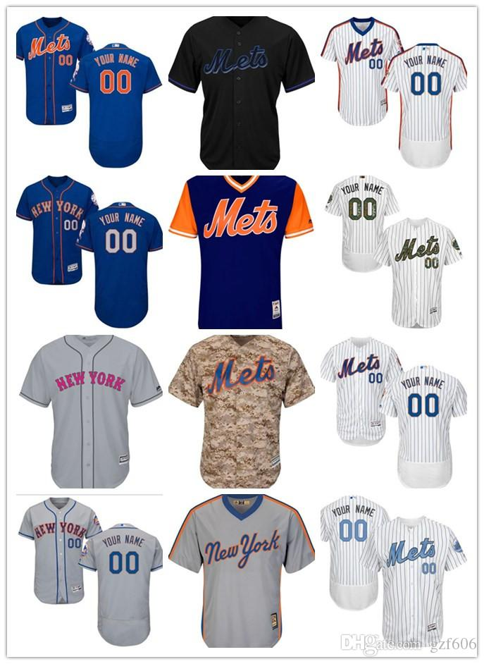 low priced d116a 58660 custom Men s women youth Majestic New York Mets Jersey Personalized Name  and Number Blue Grey White Kids Girls Baseball Jerseys