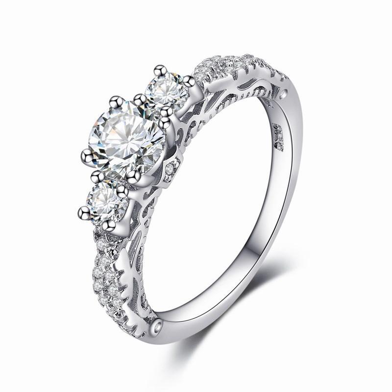 2019 Female White Round Ring Luxury Vintage Wedding Band Promise