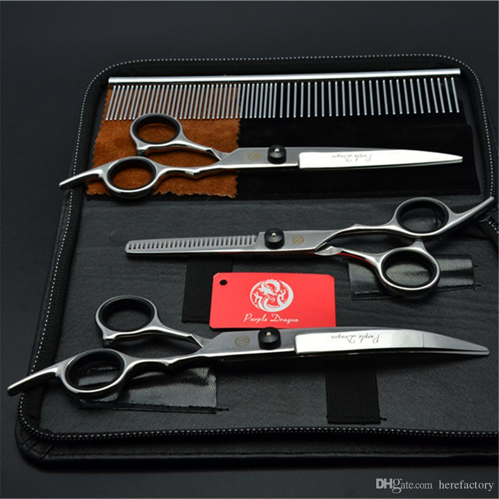 Suit 7inch 19.5cm Purple Dragon Pets Hair Grooming Shear Steel Comb+Cutting+Thinning Scissor+Down Curved Shears Cat Hair Clipper Z3001