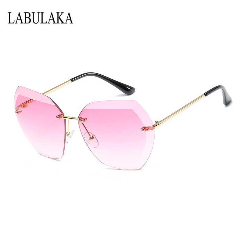 Compre Óculos De Sol Sem Aro Das Mulheres Do Vintage Designer De Marca De  Grandes Dimensões Óculos De Sol Óculos De Lentes Do Sexo Feminino Das  Senhoras Do ... 32b358b356