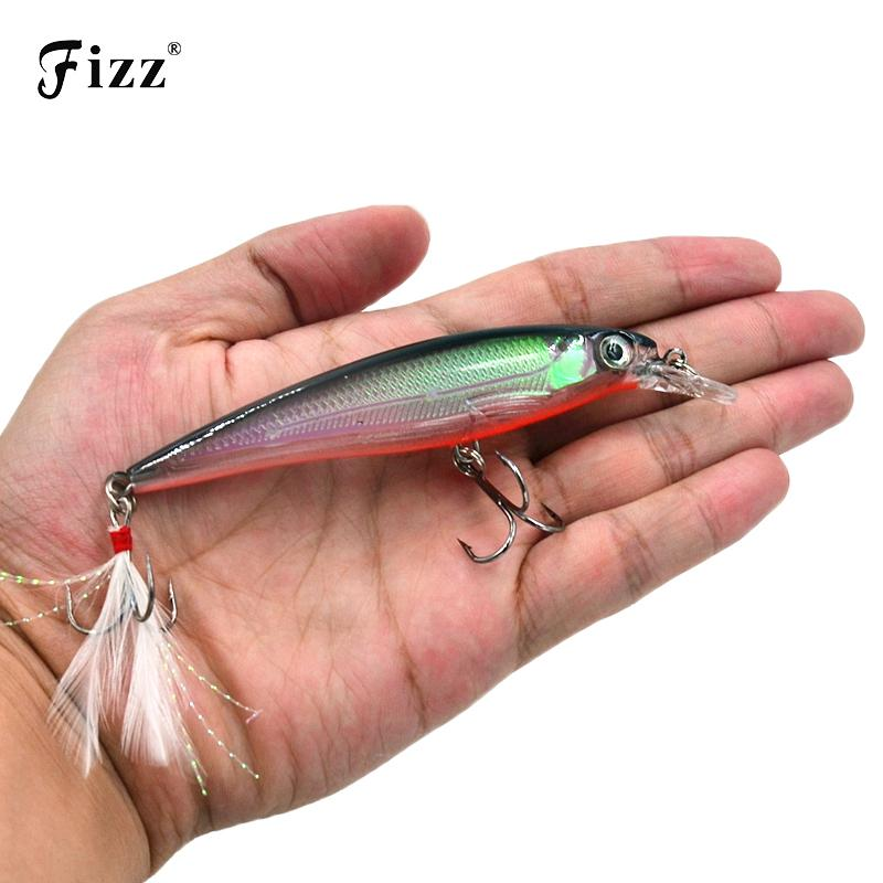11cm 14g Hard Plastic Minnow Lure with Feather Artificial Fishing Lures 3D Fish Eye Fake Swimbait Simulation Crankbait MI090 Y18100906