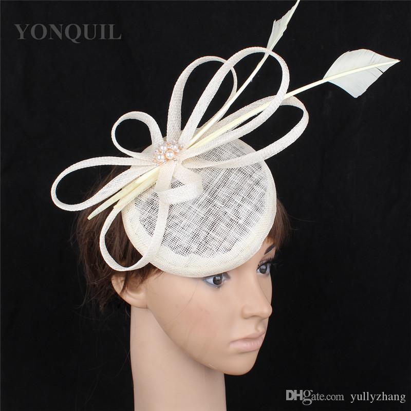 Sinamay Wedding Fascinators Women Party Hats Elegant Ladies Race Tea ... b661dbd7a755