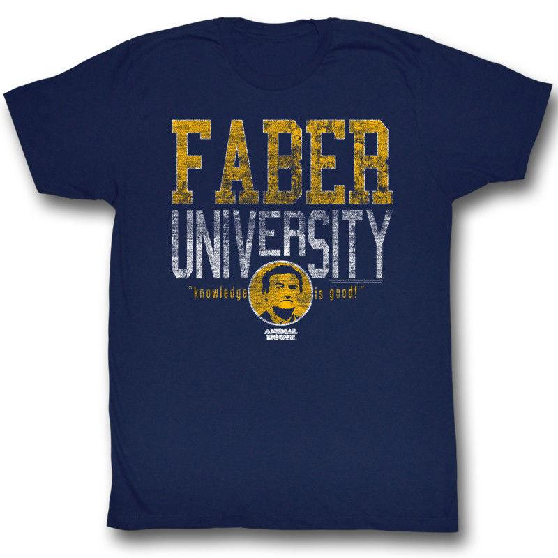 Animal House Faber University Navy Men's Adult Short Sleeve T-shirt Teenage  Natural Cotton Printed Top Tee Hipster