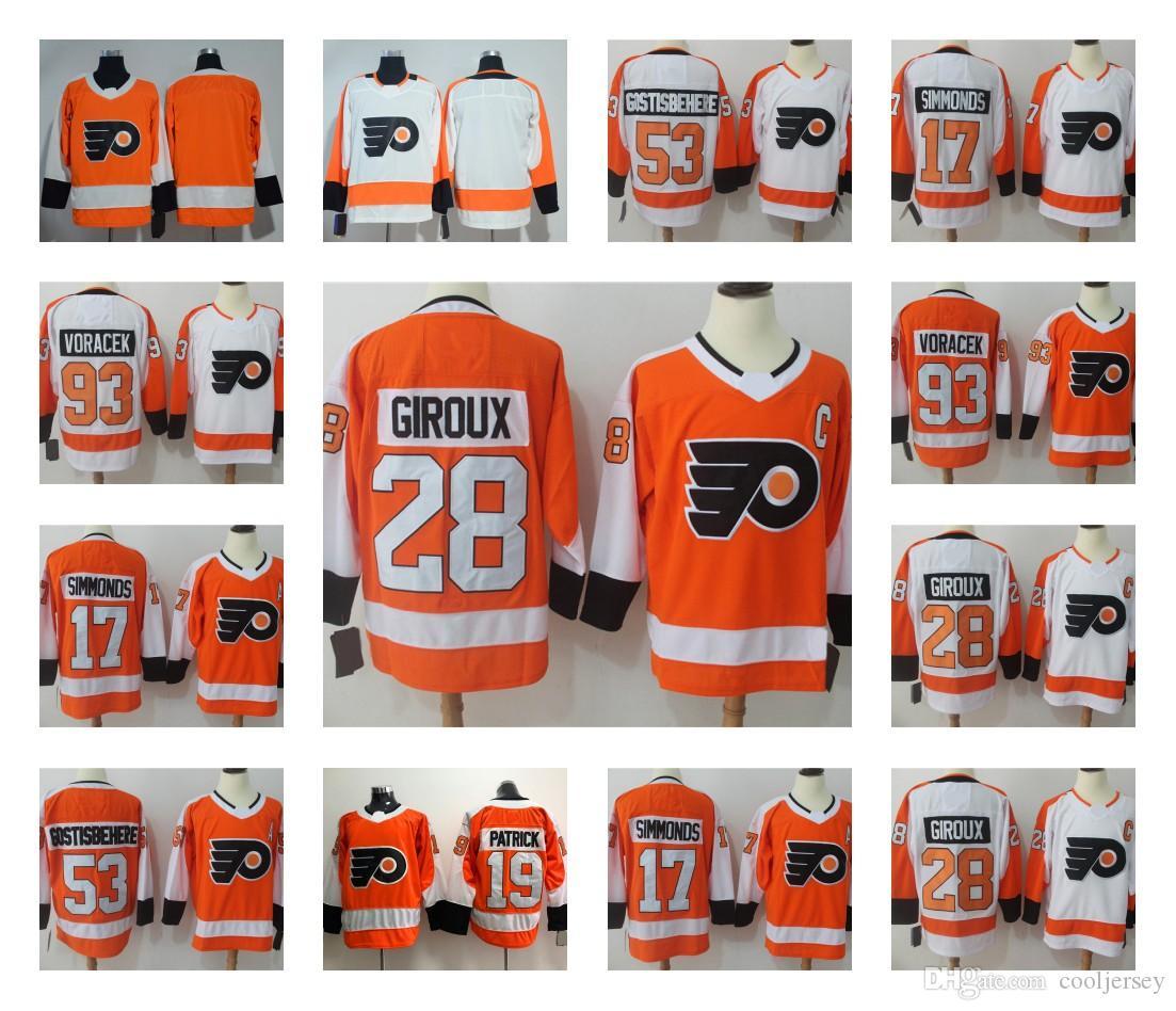 5dcd8d20b 2019 Philadelphia Flyers 28 Claude Giroux 53 Shayne Gostisbehere 17 Wayne  Simmonds 11 Konecny 93 Voracek Hockey Jersey Stitched From Cooljersey
