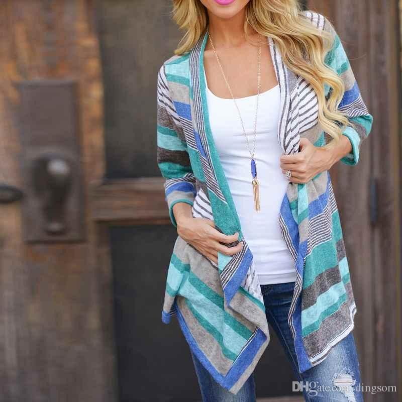Boho Womens Long Sleeve Cardigan Outwear Knitted Jacket Coat Tops Loose Sweater Summer Spring