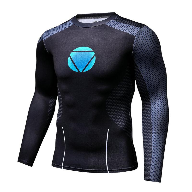 Men's fashion creativity t-shirt black tights tee superhero reactor sport long sleeves cycling fast dry basketball vest
