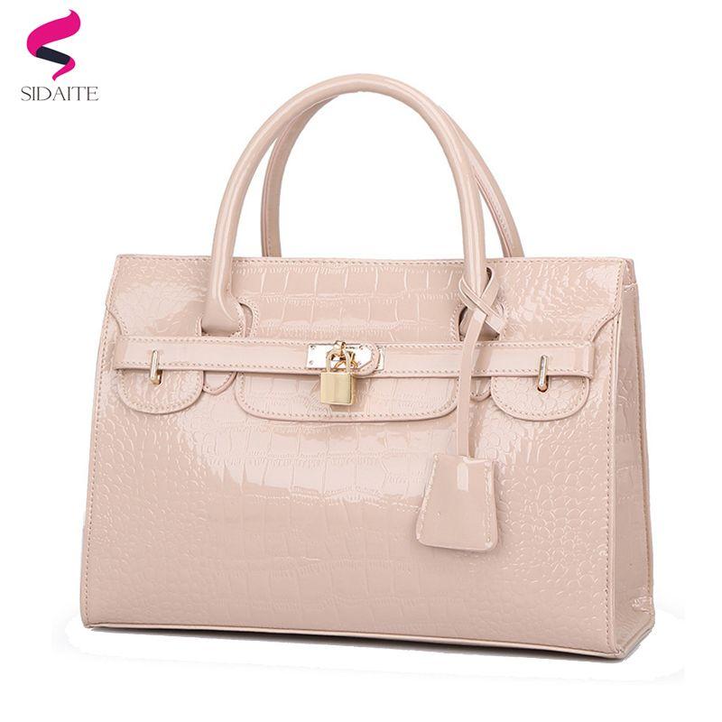 Hot Good Quality Big Women Handbag Patent Leather Crocodile Women Bag 2018  Brand Designer Elegant Female Shoulder Bag Sac A MainY1883107 Handbag Sale  ... b4916c7196