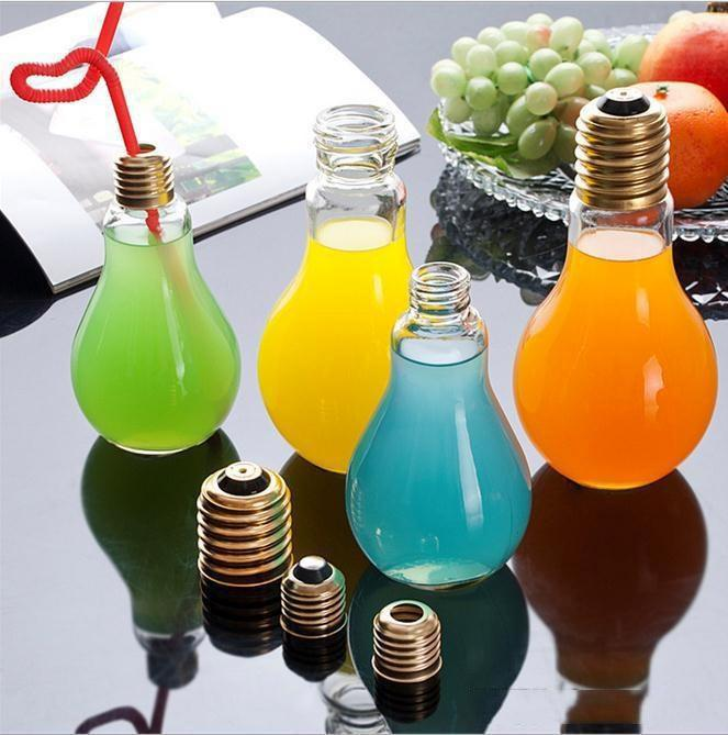 Creative Light Bulb Shape Clear Glass Beverage Tea Fruit Juice Drink Bottle Plant Flower Vase Table Home Decorations b857