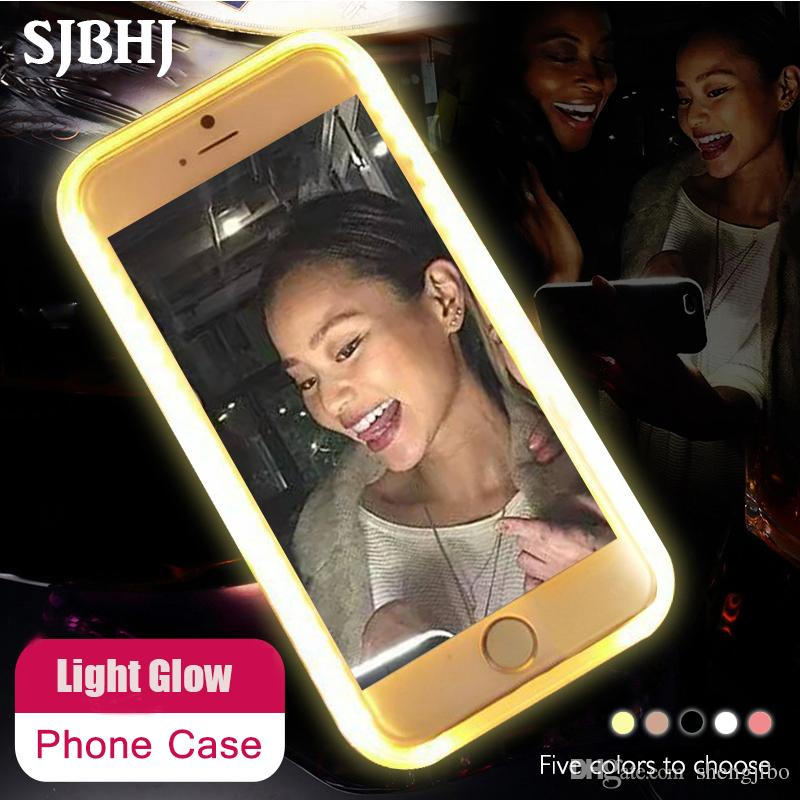 hot sale online f783c d801f Luxury Luminous Led Phone Case For iPhone 6 6s 7 8 Plus X Flash Selfie  Light Up Glowing Case Cover for iPhone 5 5s SE Phone Bag