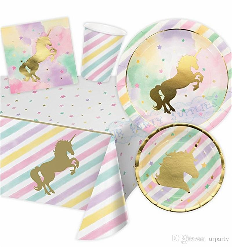 2019 Foil Gold Unicorn Paper Party Tableware Birthday Decor Plates Cups Napkin Serviette Happy Banner From Urparty 4494