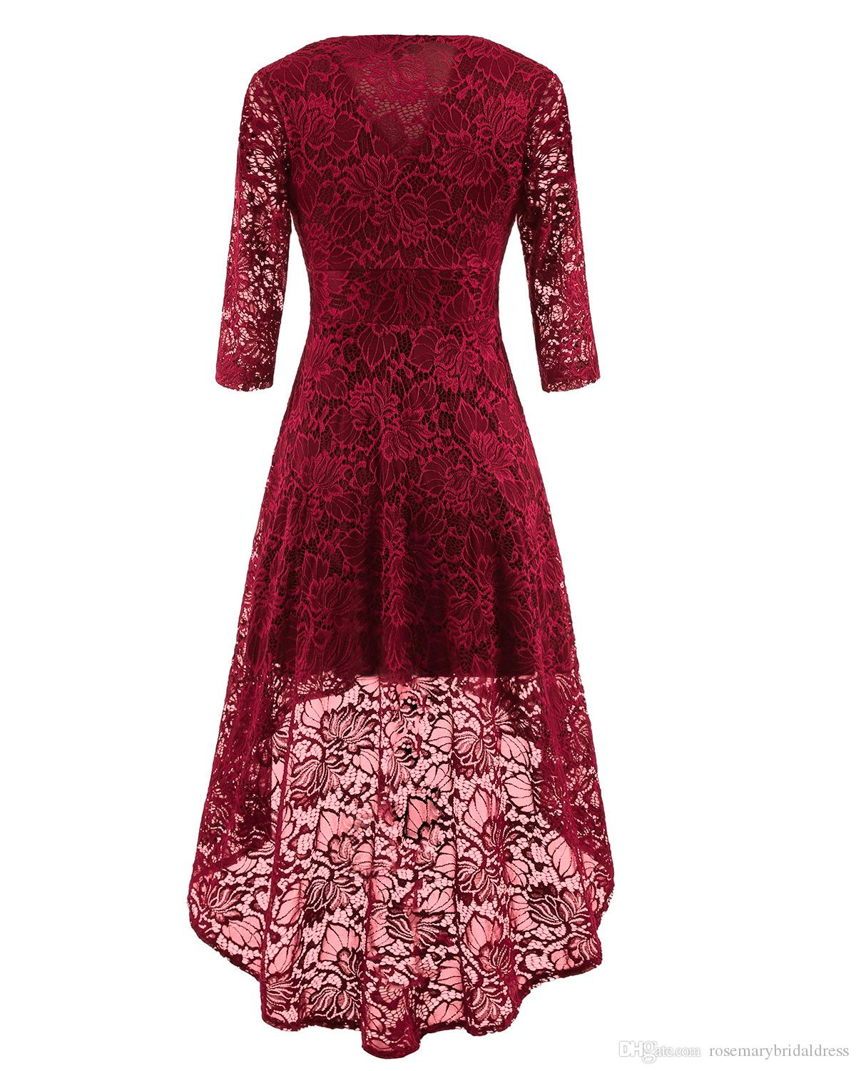 In stock Lace Party Dresses High Low Cheap Long sleeve V-Neck Short Prom Dresses Homecoming Gowns