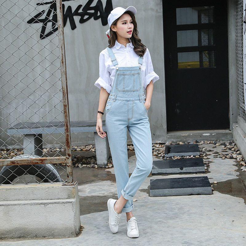 1e6a29013dc3 2019 S L Jeans Women Jumpsuit Denim Romper Overalls Korean Style Long  Trousers Basic Light Blue Denim Pants Rompers Womens B1280 From Yigu110